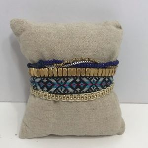 Stella dot blue and gold beaded wrap bracelet
